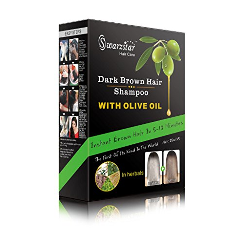 Swarzstar Hair Color Shampoo Dark Brown- with Olive Oil 125 ml (Pack of 5 Sachets = 25ml x 5 Sachets) by Swarzstar (Image #1)