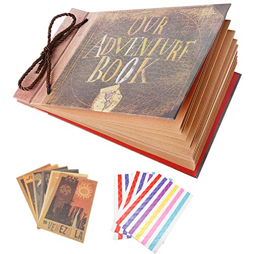XDOBO Our Adventure Book Pixar Up Handmade DIY Photo Album Anniversary Scrapbook Wedding Photo Album 11.6x7.5 Inches, 80 Pages, with 5 postcards and 3 photo corners