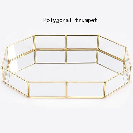 Caja Joyero Estante de Cristal, Goldenes Bandeja Retro Cobre – Bandeja de té Fácil Joyas kosmetische Ornamente, Vidrio latón, Color, Polygon Trompete: Amazon.es: Hogar
