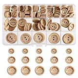 FEPITO Handmade'with Love' Wooden Button for Sewing Craft Decorations 15mm 20mm 25mm Round Shape