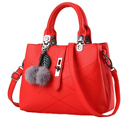 YAANCUN Soft Red Travel Bag Multicolor Handbags Womens Totes Leather Shoulder 76nrxH7