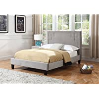 Best Quality Furniture B22F B22 Bed Frame Velvet Fabric Upholstered, Full, Gray
