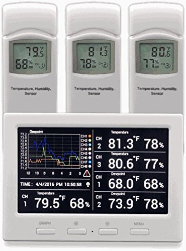 Ambient Weather WS-3000-X3 Thermo-Hygrometer Wireless Monitor with Logging, Graphing, Alarming, Radio Controlled Clock with 3 Remote Sensors