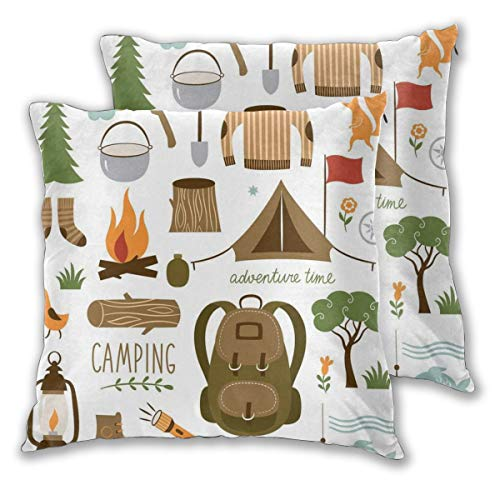 (lsrIYzy Decorations Throw Pillow Cushion Cover Set of 2,Camping Equipment Sleeping Bag Boots Campfire Shovel Hatchet Log Artwork Print,Square Accent Pillow Case 16x16 inches)