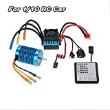 GOOLSKY 3650 3930KV/4P Motor with 45A ESC (Electric Speed Controller) Brushless LED Programming Card Combo Set for 1:10 RC Car