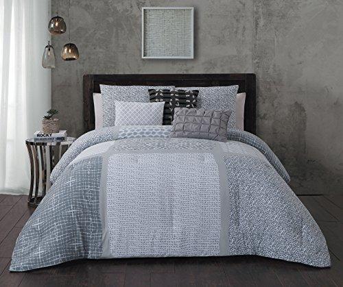 Steve Madden Talia 6 Piece Comforter Set - King - Grey Gray ()