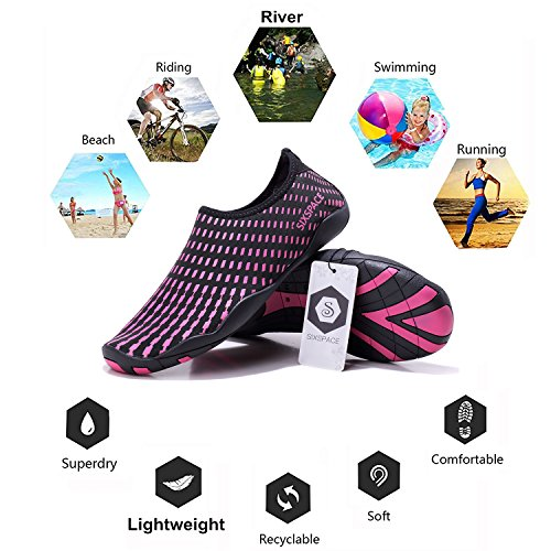 Sixspace Shoes Shoes Rose Exercise Beach Dry Red Quick Pool 07 Water Sole Barefoot Water Durable Surf Skin Yoga for Men Women pqCPWwUpr