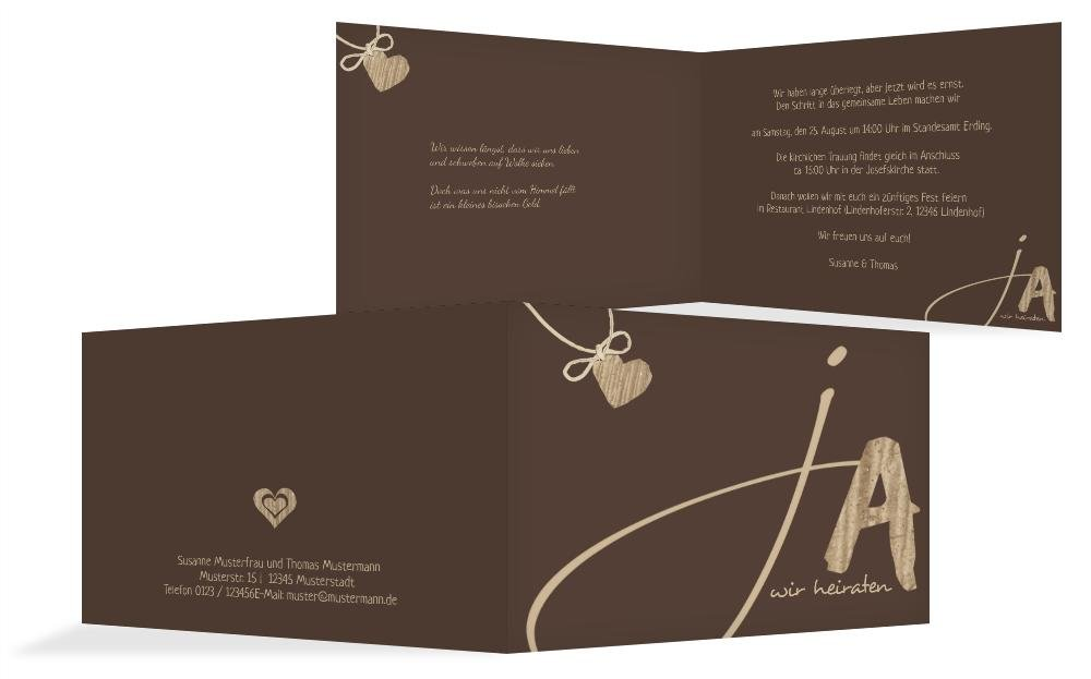 Hochzeitskarten  Einladung natürlich Ja 2, hochwertige Einladung zur Heirat inklusive Umschläge   30 Karten (format  148.00x105.00mm) Farbe  Braun B074Z5HLD7 | New Listing  | Ausgezeichnete Qualität  | Düsseldorf Online Shop