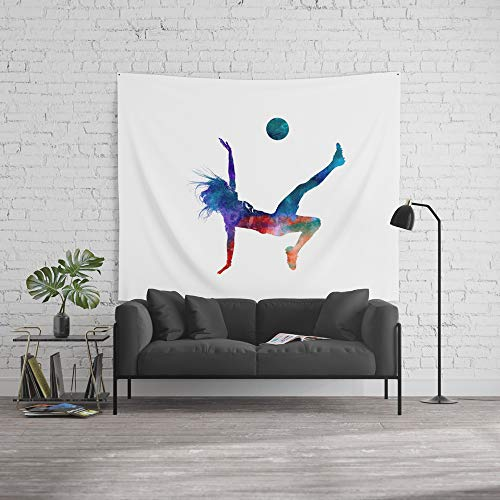 Society6 Wall Tapestry, Size Large: 88'' x 104'', Woman Soccer Player 08 in Watercolor by paulrommer by Society6