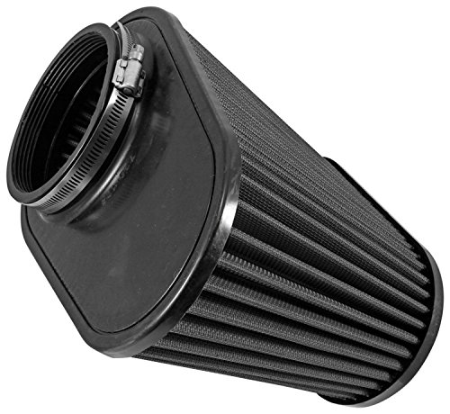 Airaid 722-128 Universal Clamp-On Air Filter: Oval Tapered; 4.5 in (114 mm) Flange ID; 7.25 in (184 mm) Height; 11.5 in x 7 in (292 mm x 178 mm) Base; 9 in x 4.5 in (229 mm x114 mm) Top