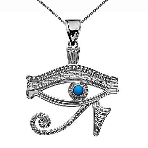 Egyptian Eye Horus - Sterling Silver Egyptian Blue Eye of Horus Pendant Necklace 16