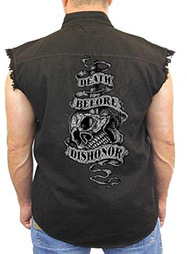 Patriotic Denim Vest Death Before Dishonor Mens Sleeveless Biker Wear M-5XL (Black, M)