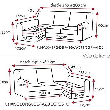 Funda de Chaise Longue Modelo Puebla, Color Gris C/10, con Brazo Largo a la Izquierda (Mirándolo de Frente): Amazon.es: Hogar