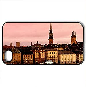 Stockholm Sweden - Case Cover for iPhone 4 and 4s (Watercolor style, Black)