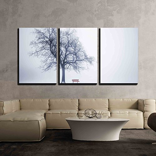 wall26 - 3 Piece Canvas Wall Art - Foggy Winter Scene with Leafless Tree and Red Park Bench in Fog - Modern Home Decor Stretched and Framed Ready to Hang - 24