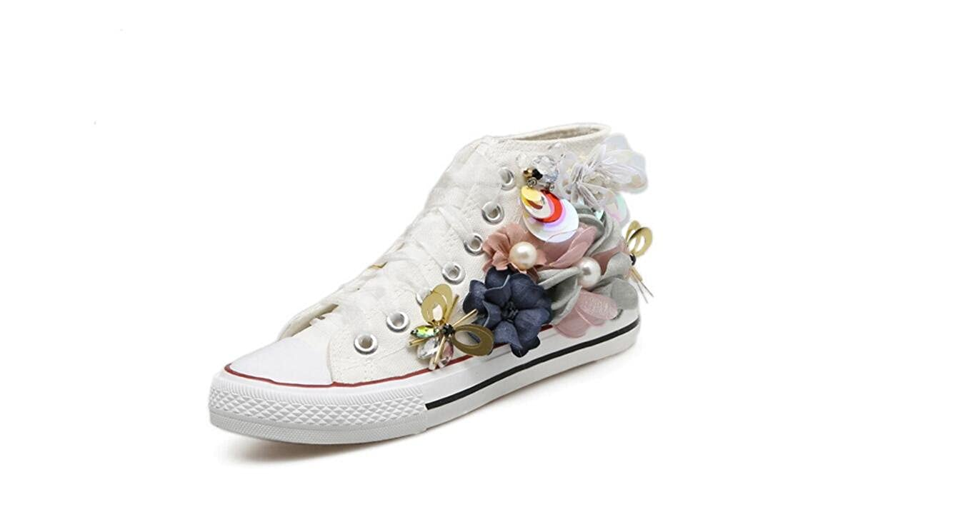 Les Chaussures Chaussures de Toile Décoratives Faites de de Fleurs Faites à la Main des Femmes Ont Lacé des Chaussures Plates Plates. White cd6bfcb - boatplans.space