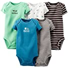 Carter's Baby Boys' 5 Pack Monster Bodysuits (Baby) - Brown - 3M