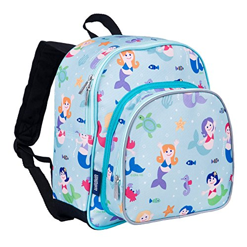 Wildkin 12 Inch Backpack, Includes Insulated, Food-Safe Front Pocket and Side Mesh Water Bottle Pocket, Perfect for Preschool, Daycare, and Day Trips, Olive Kids Design – Mermaids
