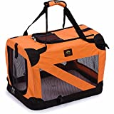 PET LIFE '360° Vista View' Zippered Soft Folding Collapsible Durable Metal Framed Pet Dog Crate House Carrier, Small, Orange