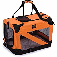 Pet Life Vista-View 360 Soft Folding Collapsible Travel Pet Dog Crate, Orange, Extra Large