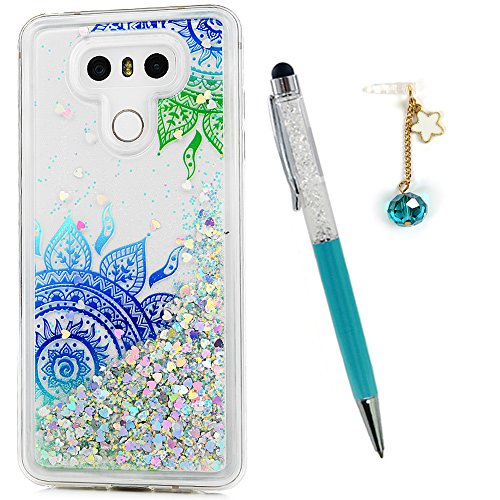 LG G6 Case, Liquid Glitter Case Bling Sparkle Shiny Flowing Moving Love Heart Cover Clear Ultral Slim Protective TPU Bumper for LG G6 with Stylus Plug Dust ZSTVIVA - Green (Blue Green Sparkle)