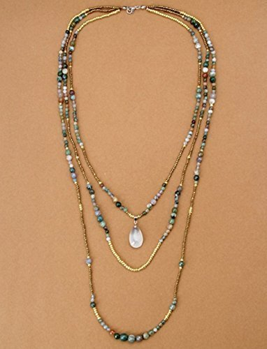 - Long Layer Agate Beaded Necklace with Teardrop Pendant - 3 Tier Layered Necklace; India Agate & Seed Beads; Bohemian Necklace; Chan Inspired; Long Stone Necklace