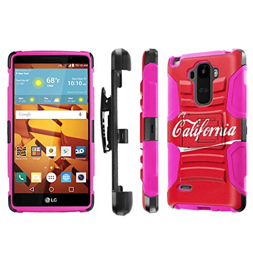LG G Stylo [LS770 H631] Armor Case [NakedShield] [Black/Pink] Heavy Duty Armor [Holster with Kickstand] Phone Case - [Enjoy California] for LG G Stylo LS770 -  P-LGLS770-1E7-BKHP-CBT-N258