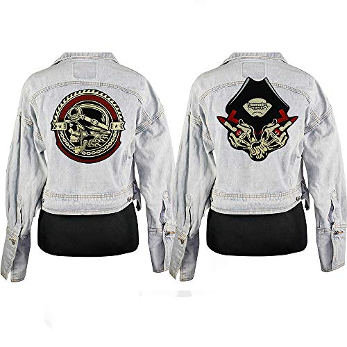 (2Pcs Live Free Ride Free Iron On Patch Embroidery Applique Sewing Label Punk Biker Patches Clothes Stickers Apparel Accessories Badge)