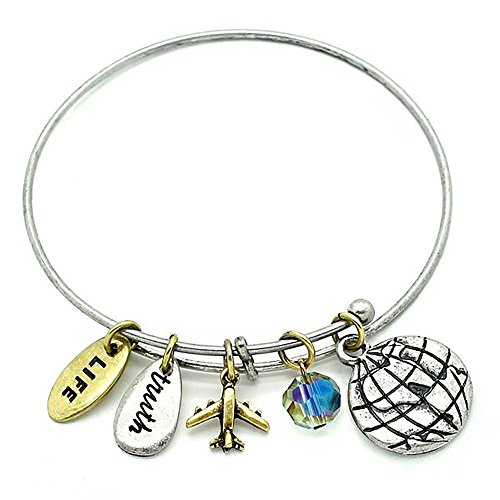 KIS-Jewelry Symbology 'World' Love to Travel Charm Bracelet - Two Toned Adjustable Wire Bangle with Brass Plated & Silver Plated Charms