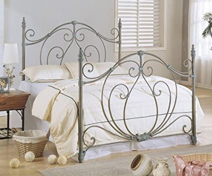 sale retailer 15edd ab415 Queen Size Antique Brass Finish Metal Bed Headboard & Footboard