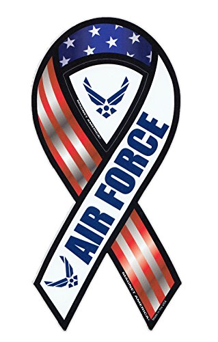 Magnetic-Bumper-Sticker-United-States-Air-Force-Ribbon-Shaped-Military-Support-Magnet-4-x-8