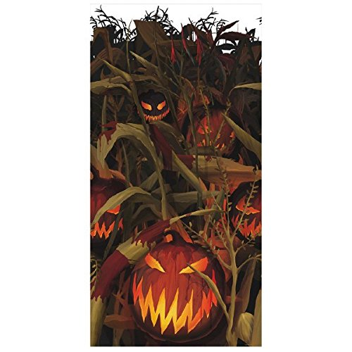 AMSCAN Scary Jack-o'-Lantern Room Roll - Field of Screams, Halloween Props and Decor, Plastic, 4' H x 40' -