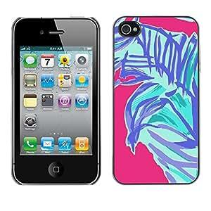 [Neutron-Star] Snap-on Series Teléfono Carcasa Funda Case Caso para iPhone 4 / 4S [Palmera del arte abstracto púrpura rosado azul]