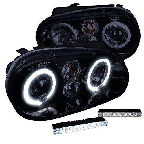 (VW Golf Piano Black Halo Projector Headlight+6-LED Bumper Fog Lamps )