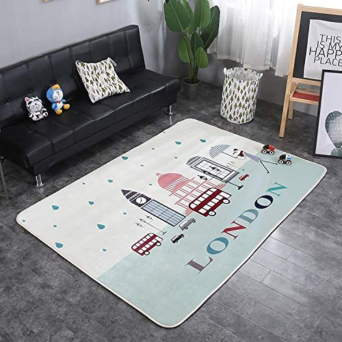 nobrand ZLEG E Clock Tower Pattern Rectangular Polyester Anti-Skid Household Carpet Yoga Mat, Size: 200cm x 150cm