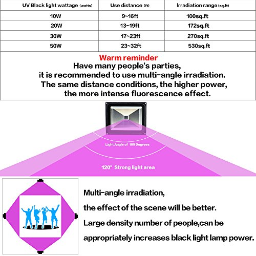 YQL Outdoor UV Black Light,10W Ultra Violet LED Flood Light,Blacklights for DJ Disco Night Clubs,UV Light Glow Bar,Blacklight Dance Party,Stage Lighting,glow in the dark party supplies by YQL (Image #7)