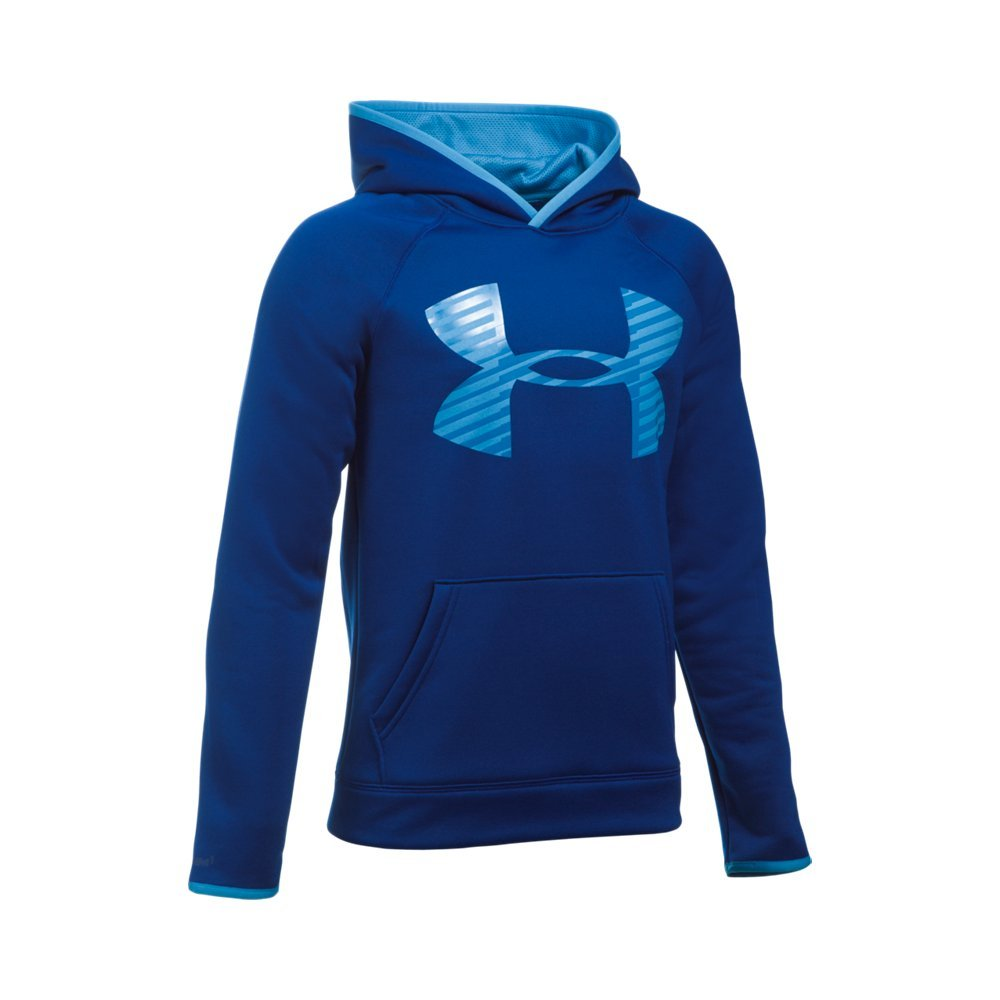 Under Armour Boys' Storm Armour Fleece Highlight Big Logo Hoodie, Caspian (403), Youth X-Small