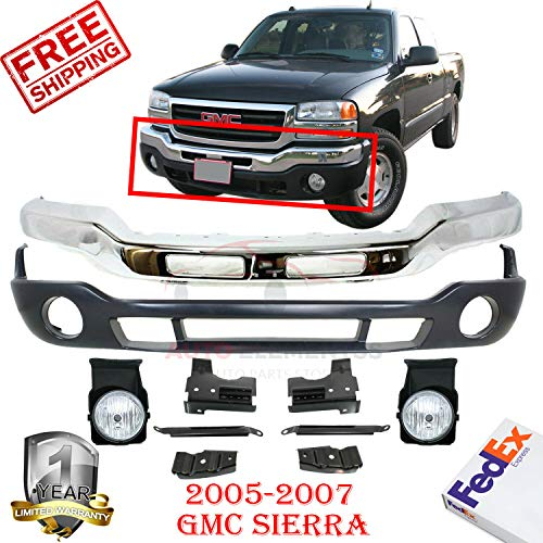 Price comparison product image Front Bumper Chrome Kit For 2005-2007 Gmc Sierra Fog Lights Left Hand & Right Hand Side + Lower Valance W / Fog Light Holes + Brackets Direct Replacement Set Of 4 GM2592154 GM1002463