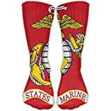 Flag Of The United States Marine Corps Unisex Crew Athletic Sock Fashion Comfort Blend Winter Novelty Funny Crew Socks Sports Outdoor One Size