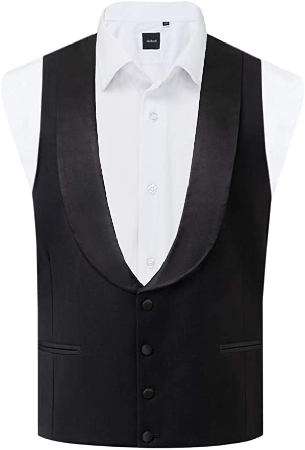 1920s Men's Fashion UK | Peaky Blinders Clothing Dobell Mens Black Tuxedo Waistcoat Regular Fit Shawl Lapel £49.99 AT vintagedancer.com