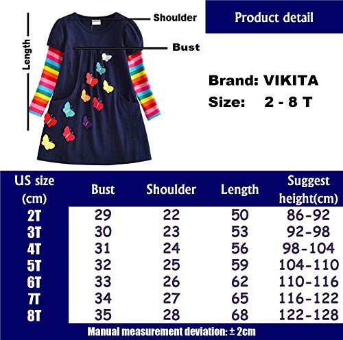 VIKITA Winter Toddler Girl Clothes Cotton Long Sleeve Girls Dresses for Kids 2-8 Years