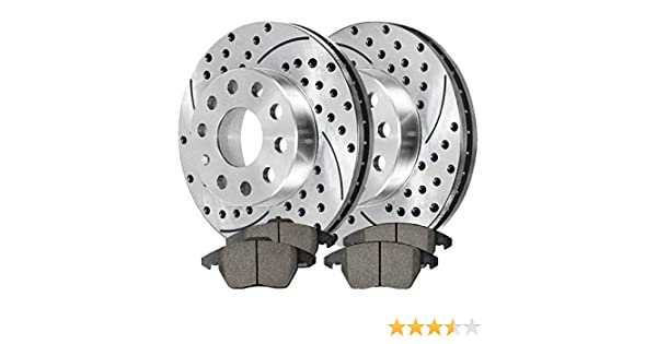 Drill Slotted Brake Rotors 4 Prime Choice Auto Parts BRKPKG004130 Front 2 Ceramic Pad