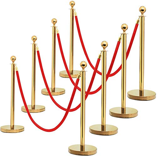 Yaheetech 8PCS stanchions and Velvet Ropes Round Top Stainless Steel Stanchion Crowd Control Barrier Posts w/6.5' Red Rope Gold]()