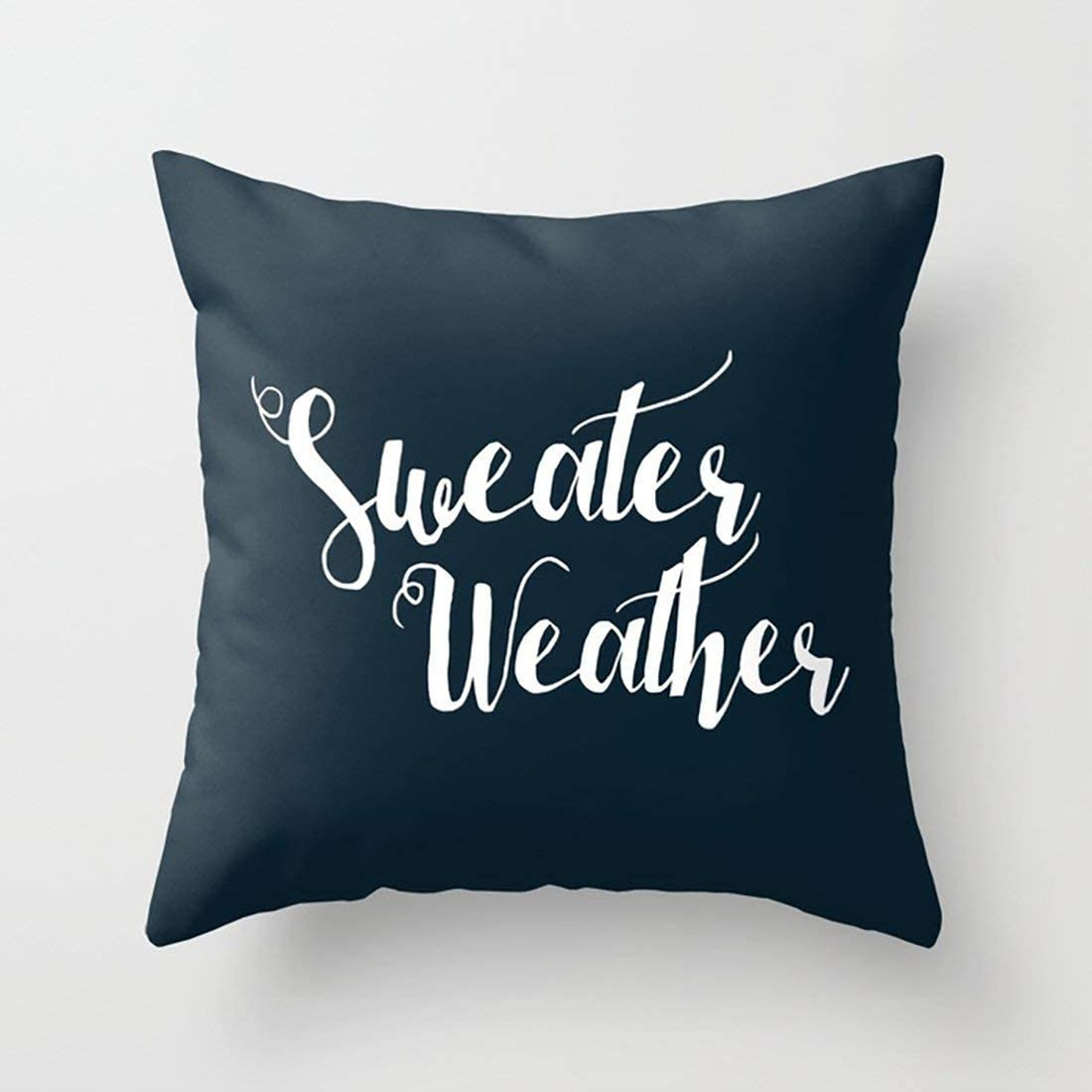 Rdsfhsp White Note Sweater Weather Black Cushion Throw Pillow Cover Case For Sofa Car Bedroom Etc Or Gifts Cotton 18x18 In Home Kitchen