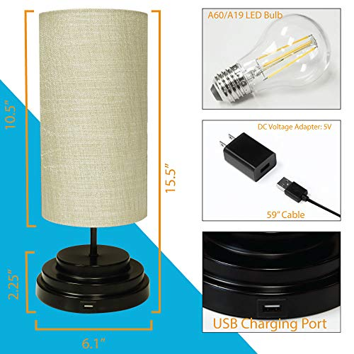 AULTRA LED Touch Table LAMP - Table Lamp Shade with Dimmable Touch Control Features & Phone Charging Port Used for… 7