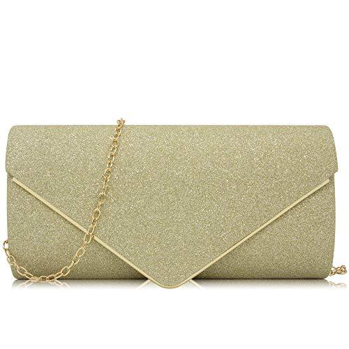 Sequin Evening Bag Purse - Milisente Women Clutches Elegant Sequins Evening Bag Chain Clutch Purse (Gold)