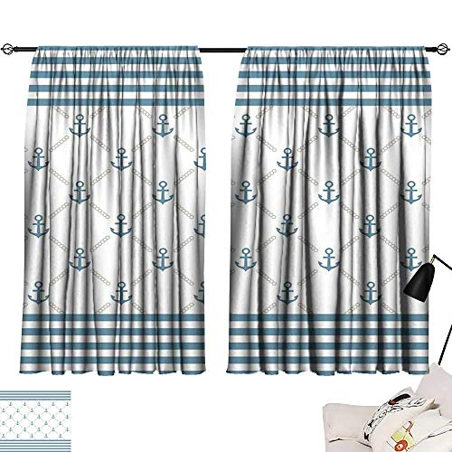 (Anyangeight Tie Up Printed Blackout Curtain Anchor,Blue Stripes Frame with Abstract Stripes and Chain Figures Symmetrical Pattern,Slate Blue White 72