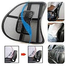 Mesh Lumbar Back Brace Support Office Home Car Seat Chair Cushion Black