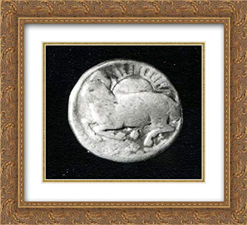 Islamic Art - 22x20 Gold Ornate Frame and Double Matted Museum Art Print - Group of Zodiac Coins-Aries, Leo, Pisces, Taurus, Capricorn (Pisces Coin Zodiac)