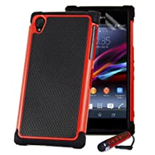32nd® Shock proof defender heavy duty tough case cover for Sony Xperia Z (L36h / L36i / C6603) + screen protector, cleaning cloth and touch stylus - Red